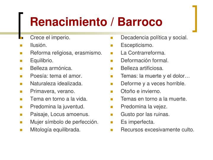 Renacimiento / Barroco