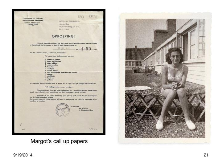 Margot's call up papers
