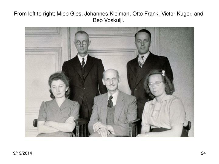 From left to right; Miep Gies, Johannes Kleiman, Otto Frank, Victor Kuger, and Bep Voskuijl.