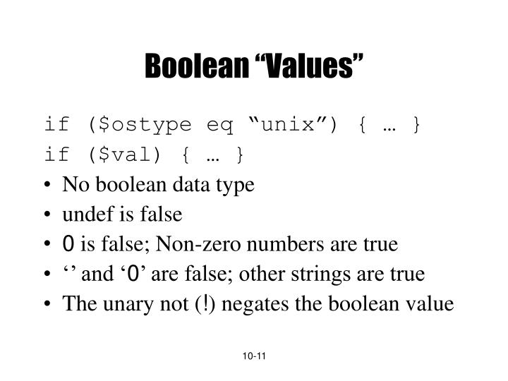 "Boolean ""Values"""