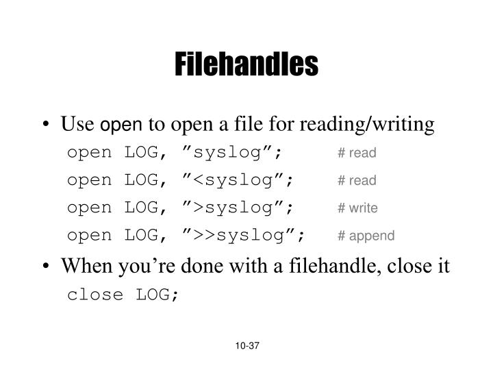 Filehandles