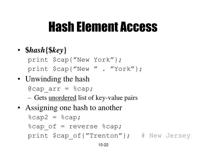 Hash Element Access