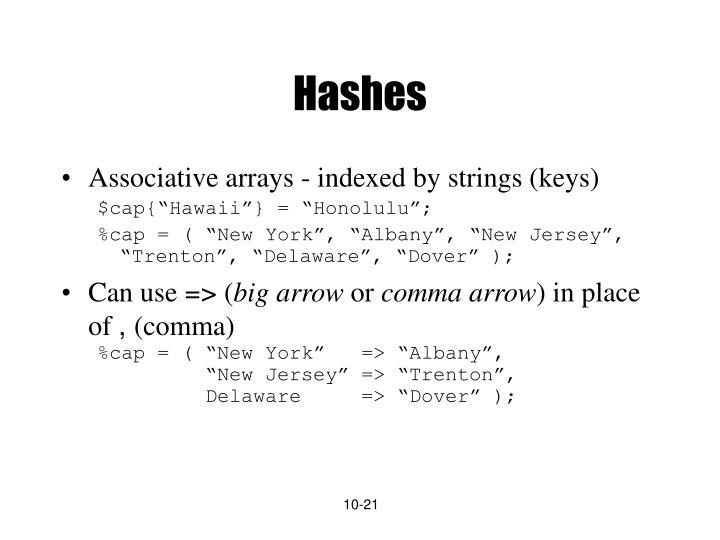 Hashes