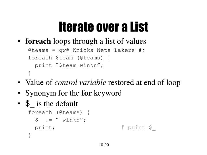 Iterate over a List