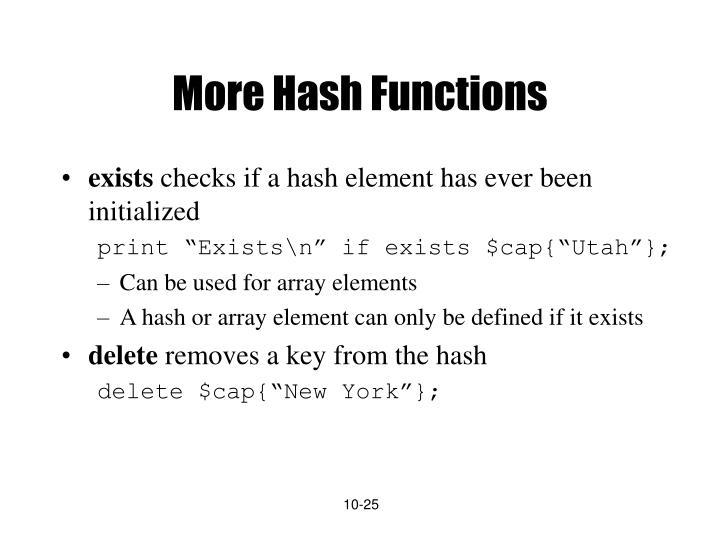 More Hash Functions