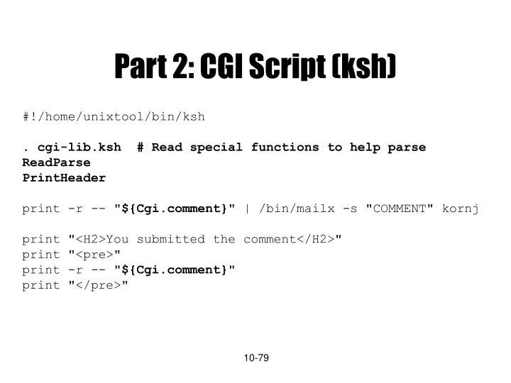 Part 2: CGI Script (ksh)