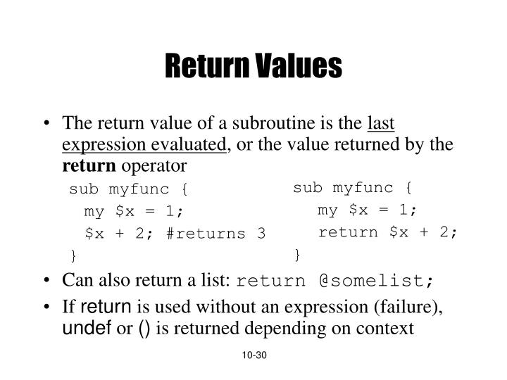 Return Values