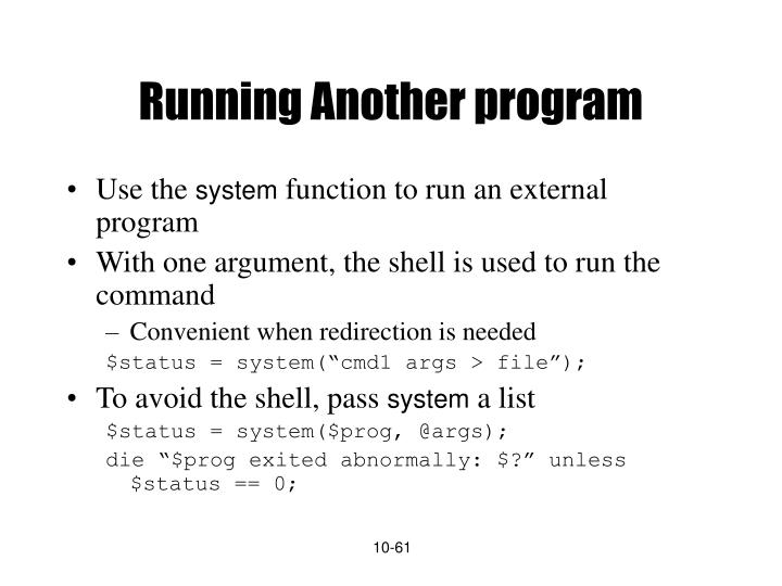 Running Another program