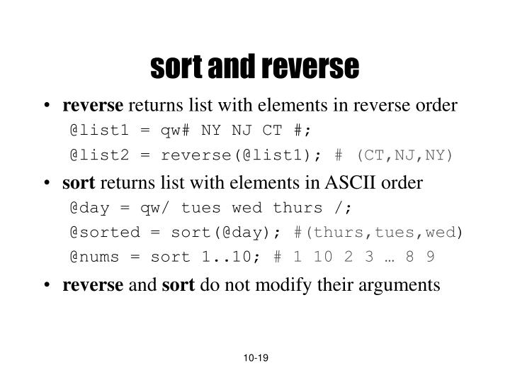 sort and reverse