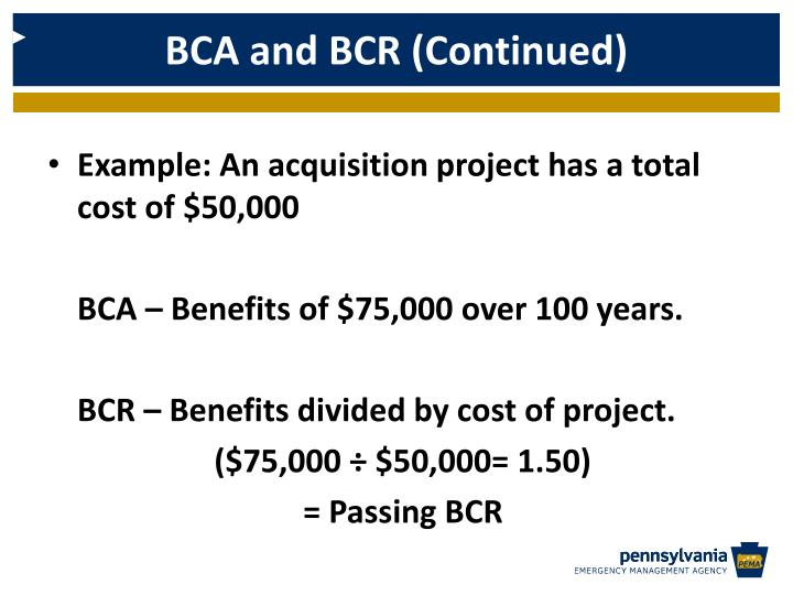 BCA and BCR (Continued)