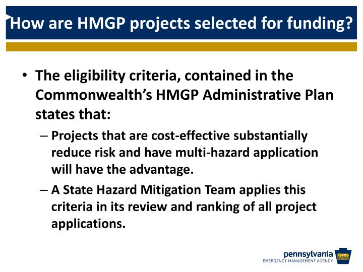 How are HMGP projects selected for funding?