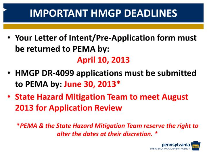 IMPORTANT HMGP DEADLINES