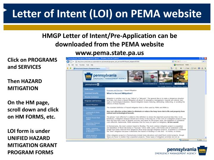 Letter of Intent (LOI) on PEMA website
