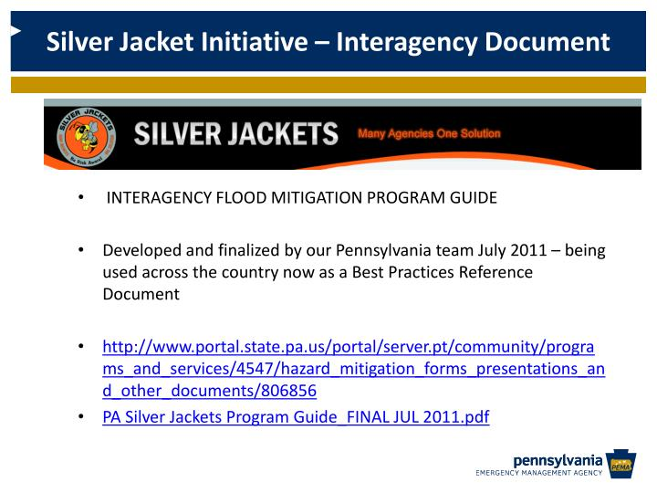 Silver Jacket Initiative – Interagency Document