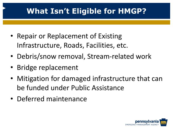 What Isn't Eligible for HMGP?