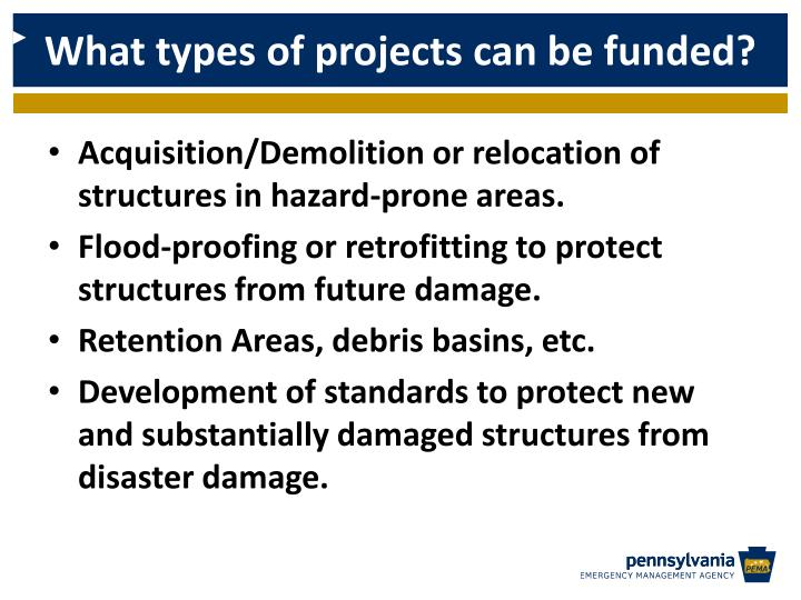 What types of projects can be funded?