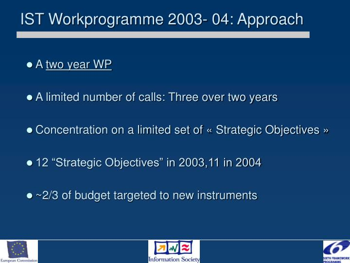 IST Workprogramme 2003- 04: Approach