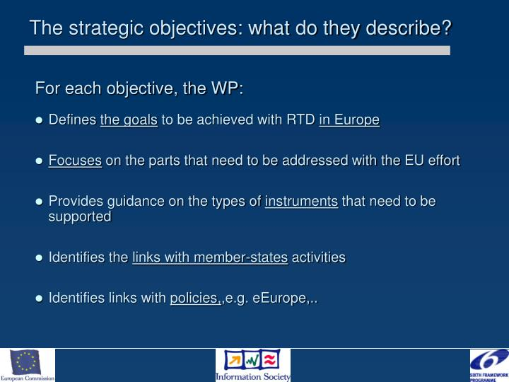 The strategic objectives: what do they describe?