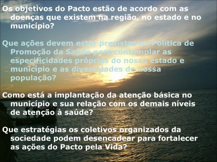Os objetivos do Pacto esto de acordo com as doenas que existem na regio, no estado e no municpio?