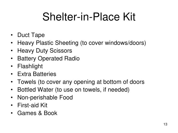Shelter-in-Place Kit