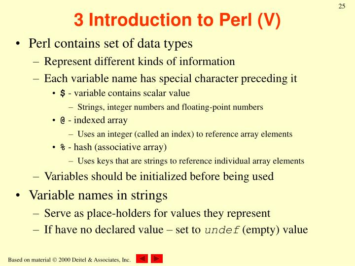 3 Introduction to Perl (V)