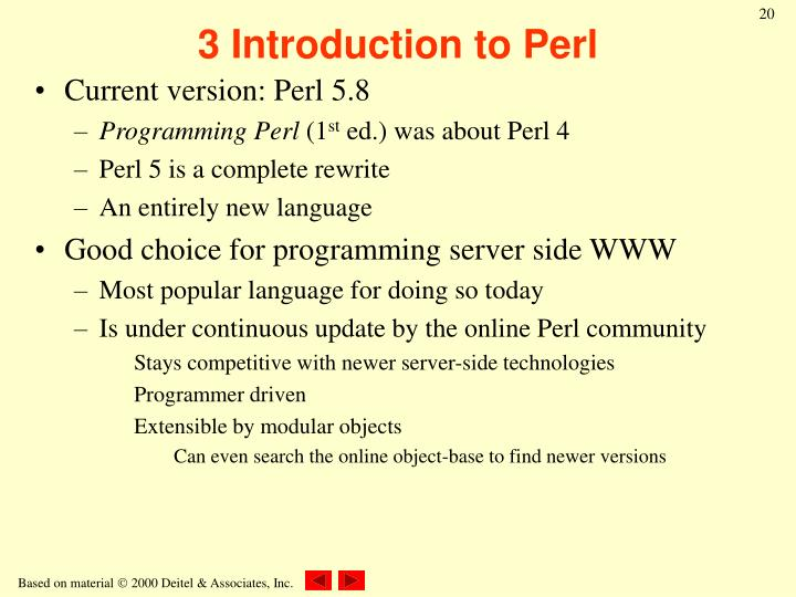3 Introduction to Perl