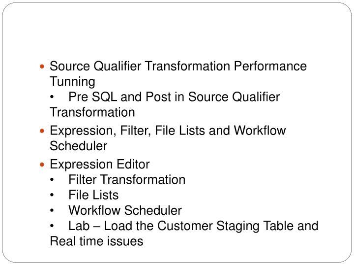 Source Qualifier Transformation Performance