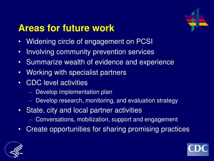 Areas for future work