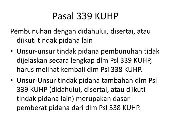 Pasal 339 KUHP