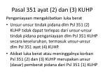 pasal 351 ayat 2 dan 3 kuhp
