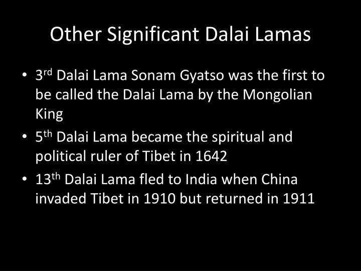 Other Significant Dalai Lamas