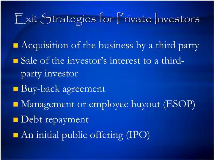 Exit Strategies for Private Investors