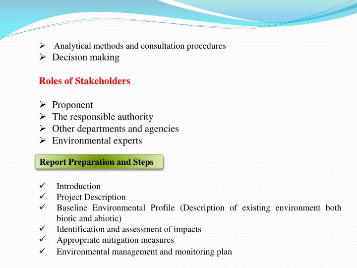 Analytical methods and consultation procedures
