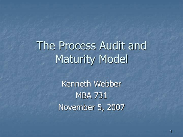 The process audit and maturity model