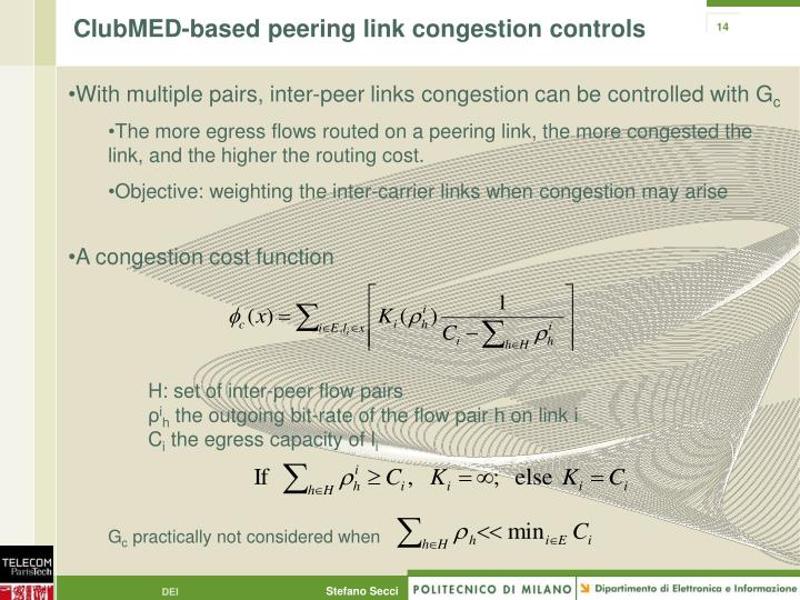 ClubMED-based peering link congestion controls