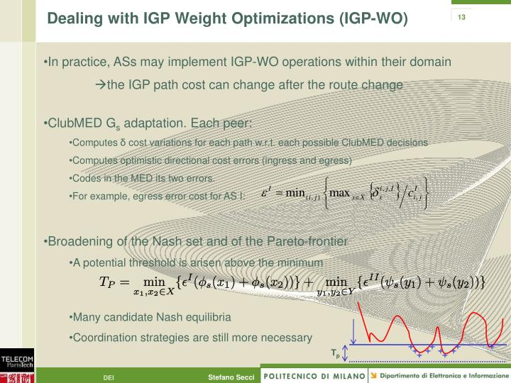 Dealing with IGP Weight Optimizations (IGP-WO)