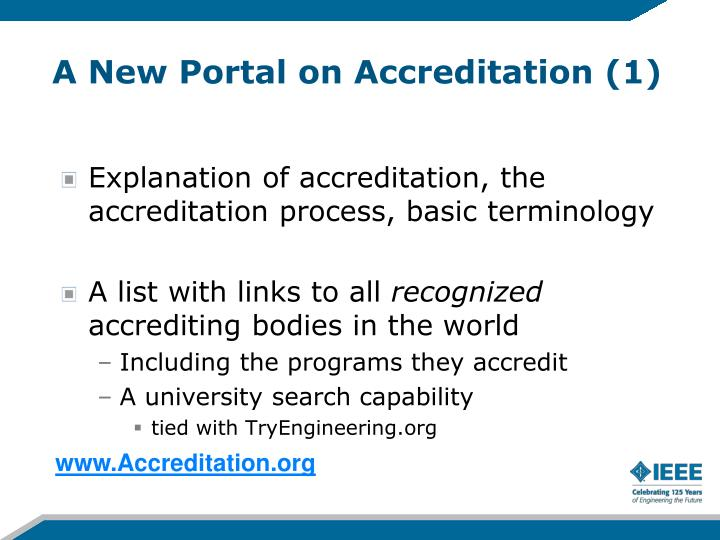A New Portal on Accreditation (1)