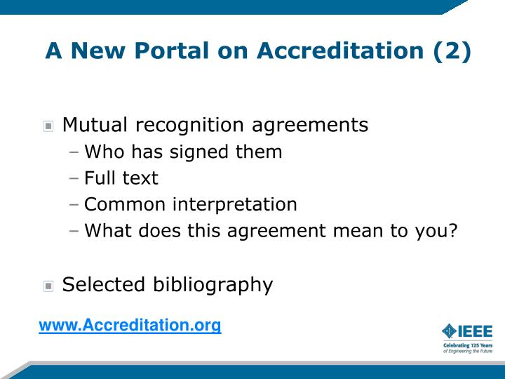 A New Portal on Accreditation (2)