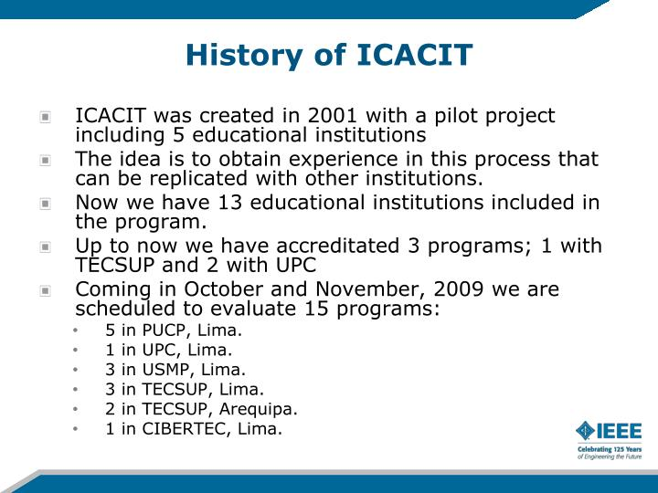 History of ICACIT