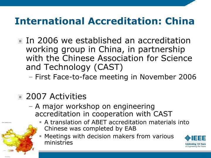 International Accreditation: China