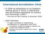international accreditation china