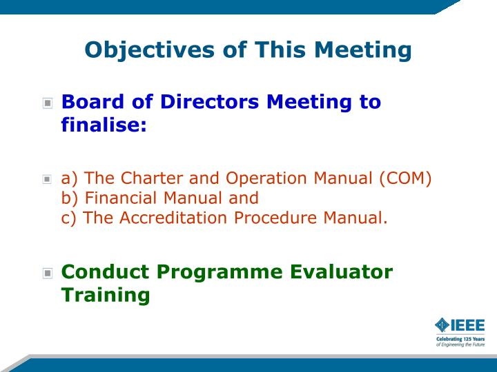 Objectives of This Meeting