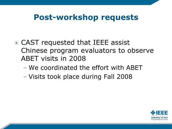 Post-workshop requests