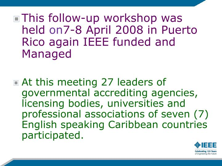 This follow-up workshop was held