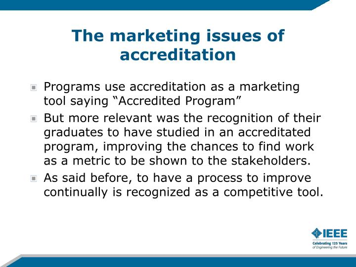 The marketing issues of accreditation