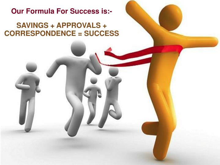 Our Formula For Success is:-
