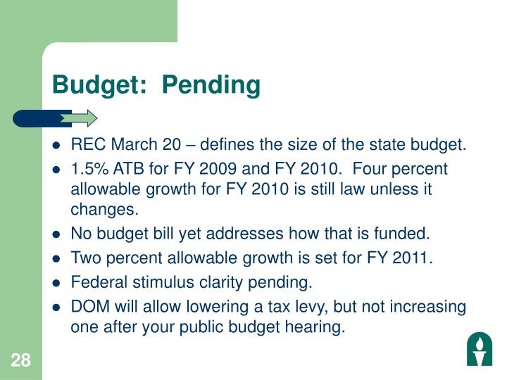 Budget:  Pending