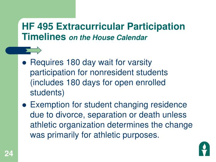 HF 495 Extracurricular Participation Timelines