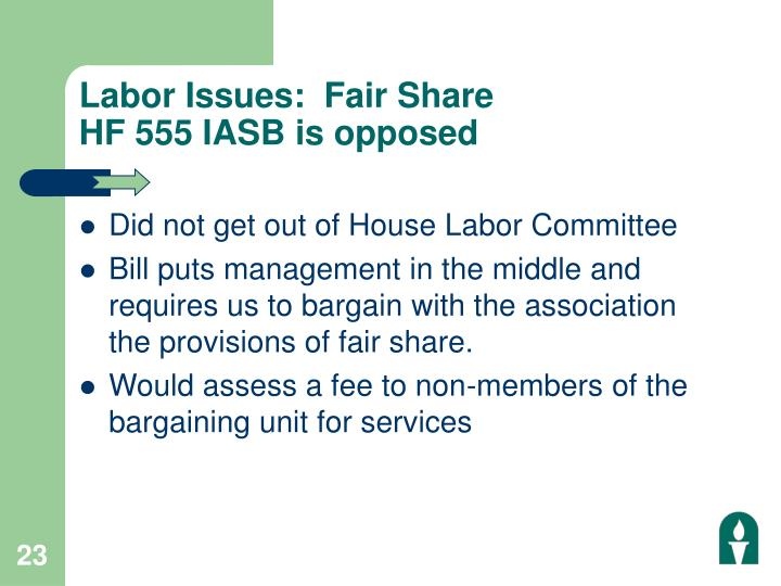 Labor Issues:  Fair Share