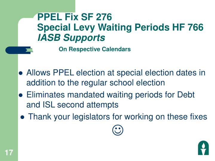 PPEL Fix SF 276